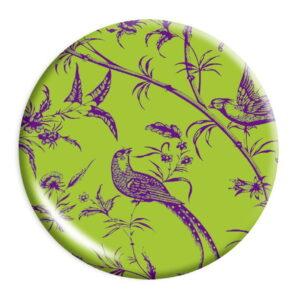 καθρεπτάκι τσέπης πράσινο με πουλάκια